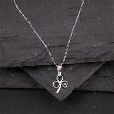 Shamrock Necklace with Emerald Green CZ From Ireland Petite From Ireland