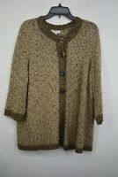 CJ Banks Womens Brown Crew Neck Long Sleeve Acrylic Blend Sweater Cardigan 1X