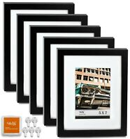 "CAVEPOP 8x10"" Mat 5x7"" Picture Frame 5 Pieces Set- Black"
