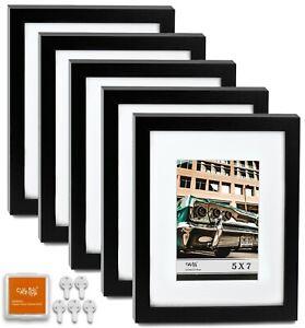 """CAVEPOP 8x10"""" Mat 5x7"""" Picture Frame 5 Pieces Set- Black"""