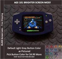 Nintendo Game Boy Advance  System AGS101 Backlit Mod-Glass Screen - Blue