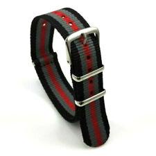 18mm Nato Army Canvas Nylon wrist watch Band strap 248mm RED GREY BLACK Silver
