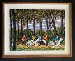GUY BUFFET (b 1943) FOX HUNTERS Painting Acrylic on Canvas | 29x21