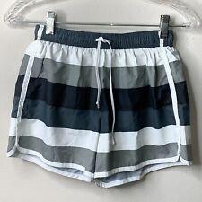 Athleta Run Short Womens XSmall Hana Asphalt Stripe Gray Black White