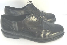 DaVinci Black Leather Wing tip Shoe Handcrafted Australia Size 11 wide Fit
