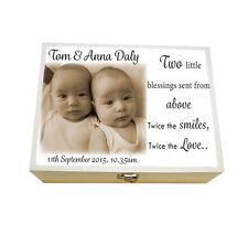 Large Personalised Twins Keepsake Box,Birthday,Christening, Memories,Baby Gift