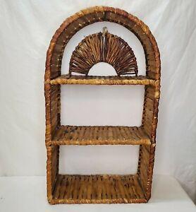 "Vintage Tortoise Shell Bamboo Wall Shelf Boho Wicker MCM Tiki 3 Shelves 23.5"""