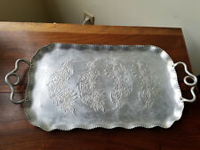 Vintage Farber & Shlevin Inc. Hand Wrought 1755 Handled Aluminum Serving Tray