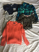 Lot Of 5 Girls Shirts Mixed Styles & Brands Size Small (7/8) Long & Short Sleeve