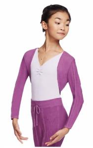 Pre-owned Capezio Girls Ballet Cable Knit Crop Shrug & Pants Purple