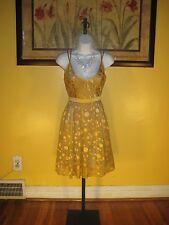 NWT Arden B. $148 Gold Dot Silk Blend Dress Size L