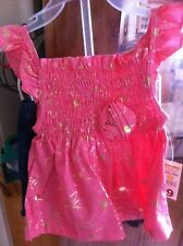 Girls' Size 12 Months Outfit -Pink Top & Blue Jean Shorts, Park Bench Kids NWT