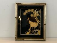 Vintage Asian Gold Painted Stalk Art of Cranes