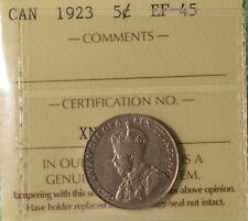 1923 Canada 5 Cents  - Graded ICCS EF-45 -  Serial XNP 744