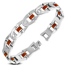 Men's Stainless Steel w/Red Rubber Geometric Link Bracelet - 21 CM
