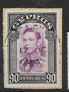 CYPRUS SG162 1938 90p MAUVE & BLACK USED ON PIECE