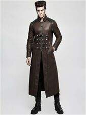 Men's Long Brown Faux leather Gothic Jacket Man Steampunk Military Trench Coat