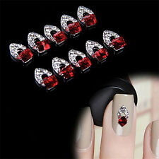 10PCS Stylish 3D Red Crystal Alloy DIY Gift Decoration Tips Nail Art Stickers FT