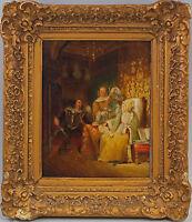 8660061 Öl-Gemälde signiert Historische Szene Aufwartung Interieur um 1880/1900