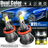 H11 Dual-Color Amber-White Switchback LED Headlight Fog Light DRL Driving Lamp