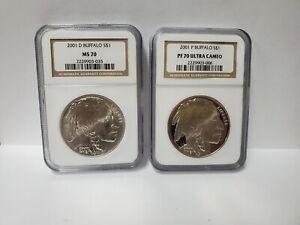 2001 Buffalo Commemorative Dollar Set MS70 / PF70