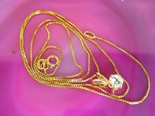 """14k Fine Yellow Gold Vintage Estate Necklace 20"""" BOX CHAIN Only Italian"""
