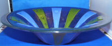 "Higgins signed 12"" SIAMESE Art Glass Bowl Blue/Green/Purple  midcentury mod"