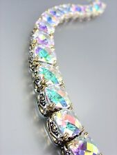 Designer Style Silver Gold Balinese Iridescent AB CZ Crystals Links Bracelet
