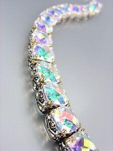 Designer Style Silver Gold Balinese Iridescent AB CZ Crystals Links Bracelet
