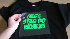 PERSONALISED IRON-ON T-SHIRT TRANSFER FOR STAG DO'S PARTY IDEAS WEEKEND