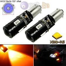 2x Amber 9W No Error BAX9S 64136 4-SMD CREE LED Front Turn Signal Light Bulbs