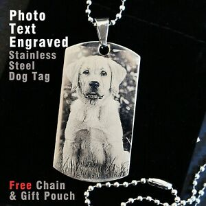 Personalised Dog Pet Memorial Keepsakes Gift Photo text engraved Pendent Dogtag