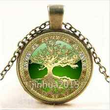 NEW Vintage Celtic Gold/Green Tree Of Life Glass Cabochon Bronze Chain Necklace