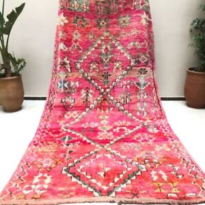 Colorful Rug Moroccan Vintage Runner Boujaad handmade Carpet Berber 6″x10″ ft