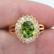 18K Yellow Gold Filled Green Emerald Topaz Solitaire Engagement Gems Ring