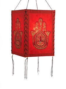 Lampshade Fatimas Hand, Red, Lokta Paper , Paper Light Paper Lamp Lantern