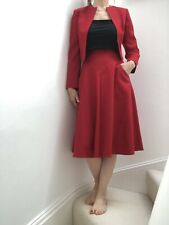 David Simons Red Wool Vintage Suit Skirt & Open Jacket Suits 6/8