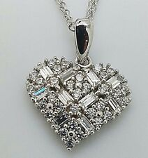 "1.5 CT  SPARKLING  HEART SHAPE PENDANT NECKLACE WITH 18"" CHAIN  SOLID 14K W GOLD"