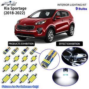 9 Bulbs LED Interior Dome Light Kit 6000K Xenon White For 2018-2022 Kia Sportage