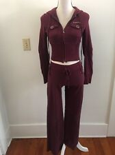 Bebe Women's Purple Tracksuit Athletic Zip Up Hoodie Stretch Pants Xs Small