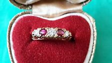 Vintage 18ct Yellow Gold Diamond and Ruby eternity ring size P