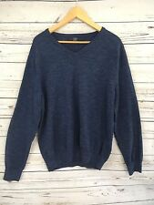 Men's J Crew Factory Textured Cotton V-Neck Heather Navy Sweater Large