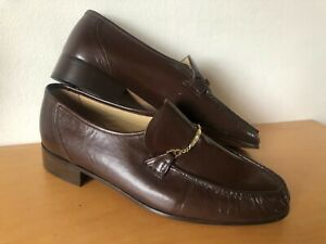 Womens Vintage Bally Brown Leather Slip on Loafer Shoes. Size 7.