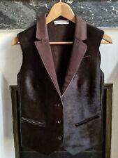 BRUNELLO CUCINELLI leather & cashmere sleeveless jacket size 42