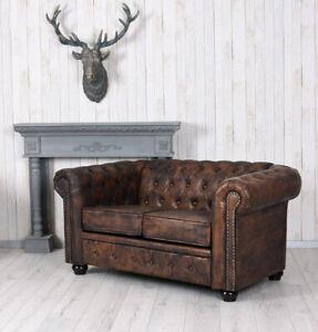 Englisches Sofa Chesterfield Couch Herrenzimmer Sitzbank Loungesofa Loft Bank