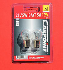"1 x Pack of 2 P21/5W BAY15d 380 12V Replacement Clear Bulbs CARPOINT ""NEW"""