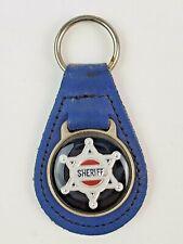 Vintage Sheriff leather keychain keyring metal back Blue
