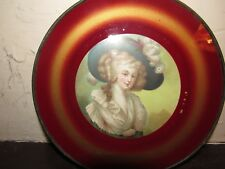 Antique Victorian Chimney Flue Cover Gold/Red french lady