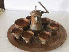 Old Handmade Copper Turkish Coffee Set for 6 with Tray