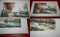 2 gravures à l'eau-forte signées représentant un paysage avec halage et rivière